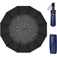 Windproof Travel Umbrella Golf Umbrella Auto Open Close, Lightweight 12 Ribs Automatic Windproof Canopy Compact with Light Reflective-Gift Leather Cover