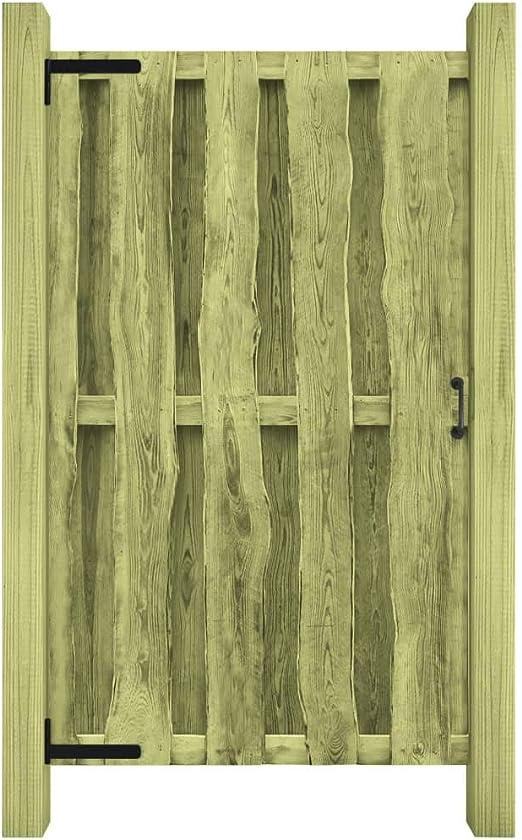 ACCEWIT - Puerta para jardín (Madera de Pino impregnada, 100 x 170 cm), Color Verde: Amazon.es: Hogar