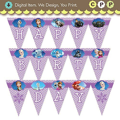 graphic regarding Frozen Banner Printable referred to as Disneys Frozen Joyful Birthday Banner Pink Dots Printable