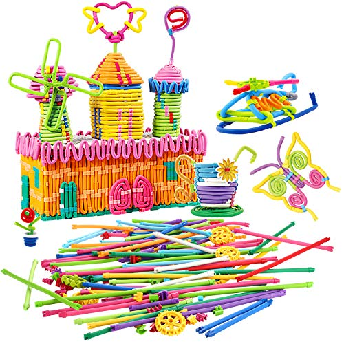 Peradix Kids Building Sticks Puzzle Toy Soft Building Blocks STEM Set Flexible Twistable Construction Theme DIY Activity Game Set- Construction and Educational Toy for Kids with Storage Bag -