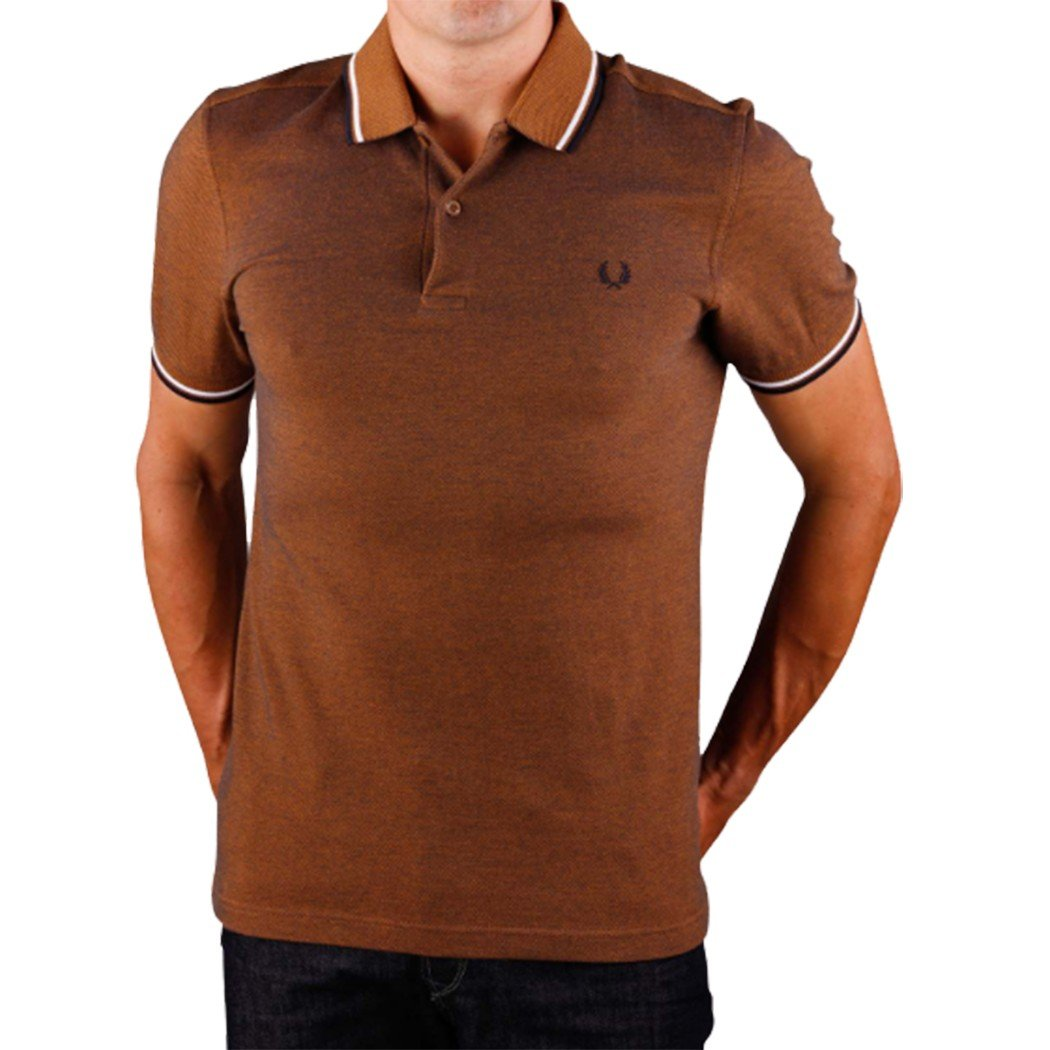 cc66ed93 Galleon - Fred Perry Men's Twin Tipped Shirt-M3600, Amber Carbon OXF Medium