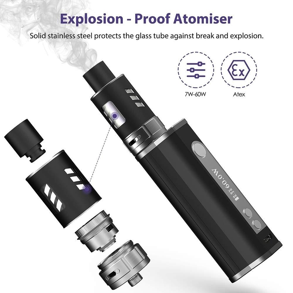 Cigarrillos Electrónicos Starter Set 60W Mod Box + 5x10ml E-Liquido, Fredest E-Cig 60W Vapor Kit Con 2200mAh Batería, 2.0ml Atomizador, 0.3ohm Vaporizador ...