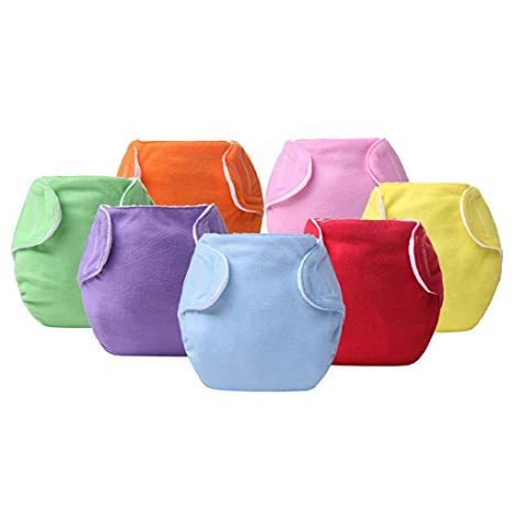 7 Pcs Baby Bebé Pañales de tela reutilizables pañales de lavable Pure, talla para ajustable