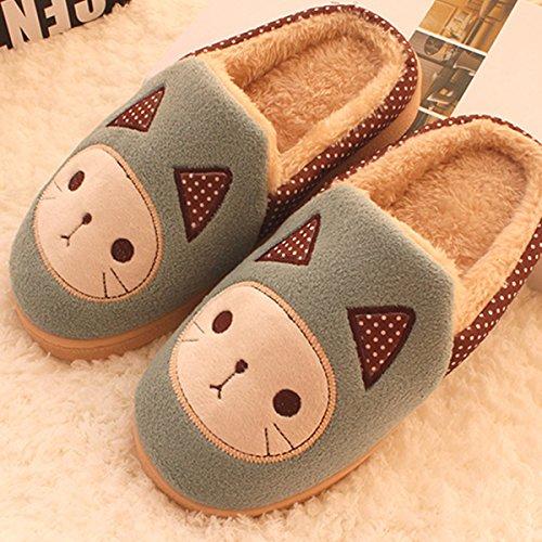 Y-Hui cálido invierno un par de zapatillas de algodón y zapatillas de casa con la mitad de un paquete de deslizamiento,42-43 hombres /290mm,azul claro