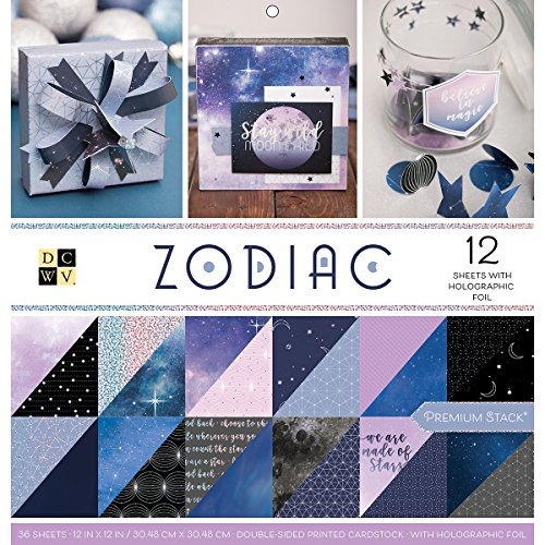 American Crafts Card Stock Zodiac Premium Printed Cardstock Stack, 12''X12'' by American Crafts