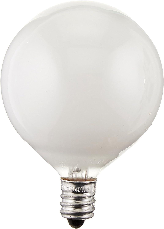 40 Watt G16 5 Decorative Globe E12 Candelabra Base Light Bulbs White 10 Pack Amazon Co Uk Lighting