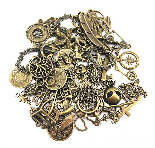 Yueton 100 Gram (Approx 70pcs) Assorted Antique Charms Pendant for Crafting, Jewelry Making Accessory (Bronze)]()
