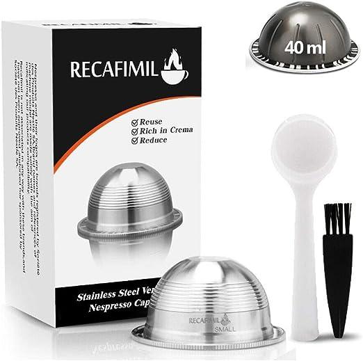 1 c/ápsula Nespresso reutilizable de pl/ástico para m/áquina Nespresso con cuchara y pincel. 1 c/ápsula Nespresso recargable de acero inoxidable
