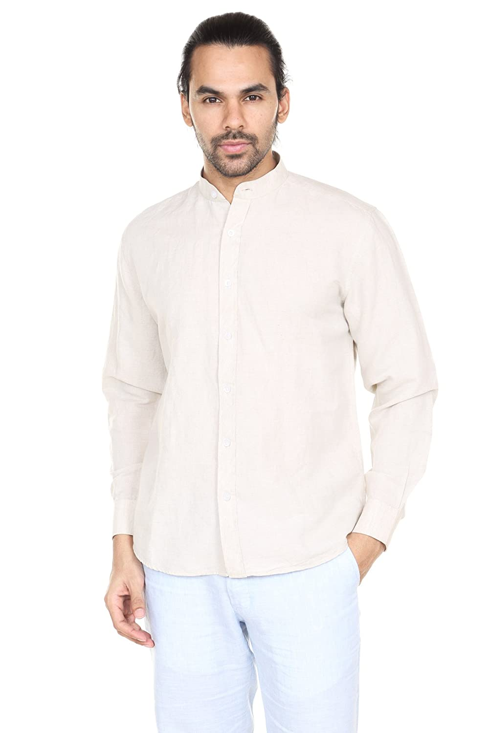 A.N.D. by Anita Dongre Mens Button down Shirt with Mandarin Collar ...