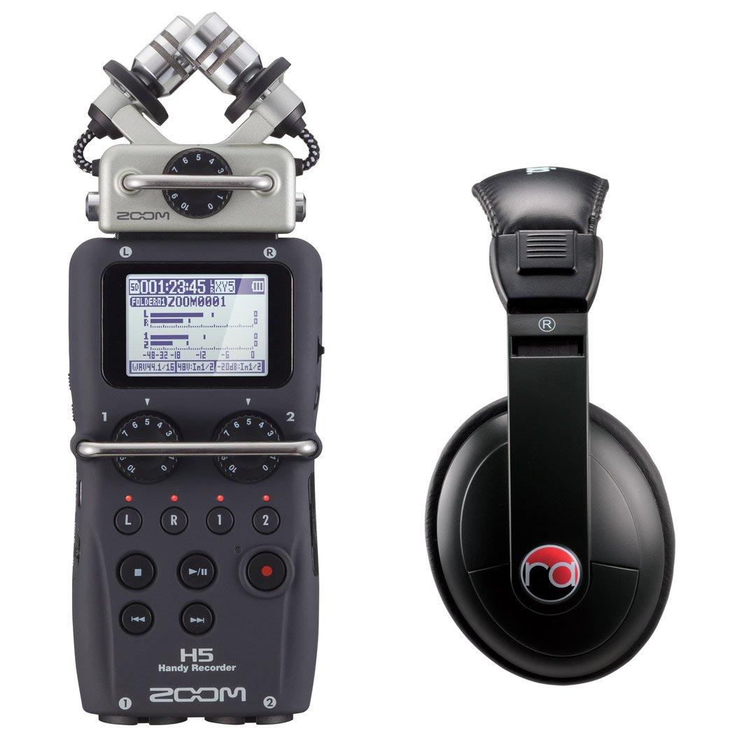 Zoom H5 Four-Track Portable Recorder w/ Resident Audio R100 Headphones - Bundle