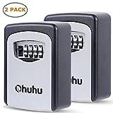 Ohuhu Key Storage Lock Box, 4-Digit Combination Lock Box, Wall Mounted Key Safe Box/Security Key Holder/Code Storage Case/Cipher Lock Box, 2 Pack