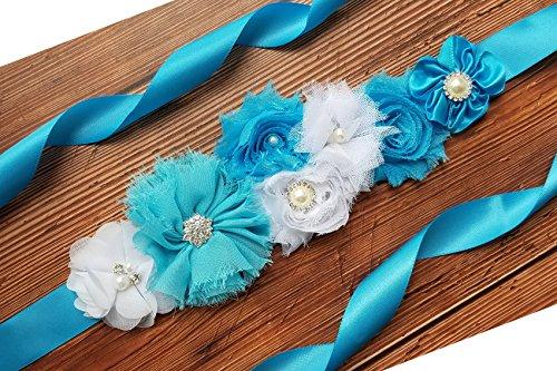 Maternity Pregnancy Sash Belt with Flower,Floral Baby Shower Belly Sash,Flower Girl Sash (A-(Blue & White) (Beaded Silk Belt)
