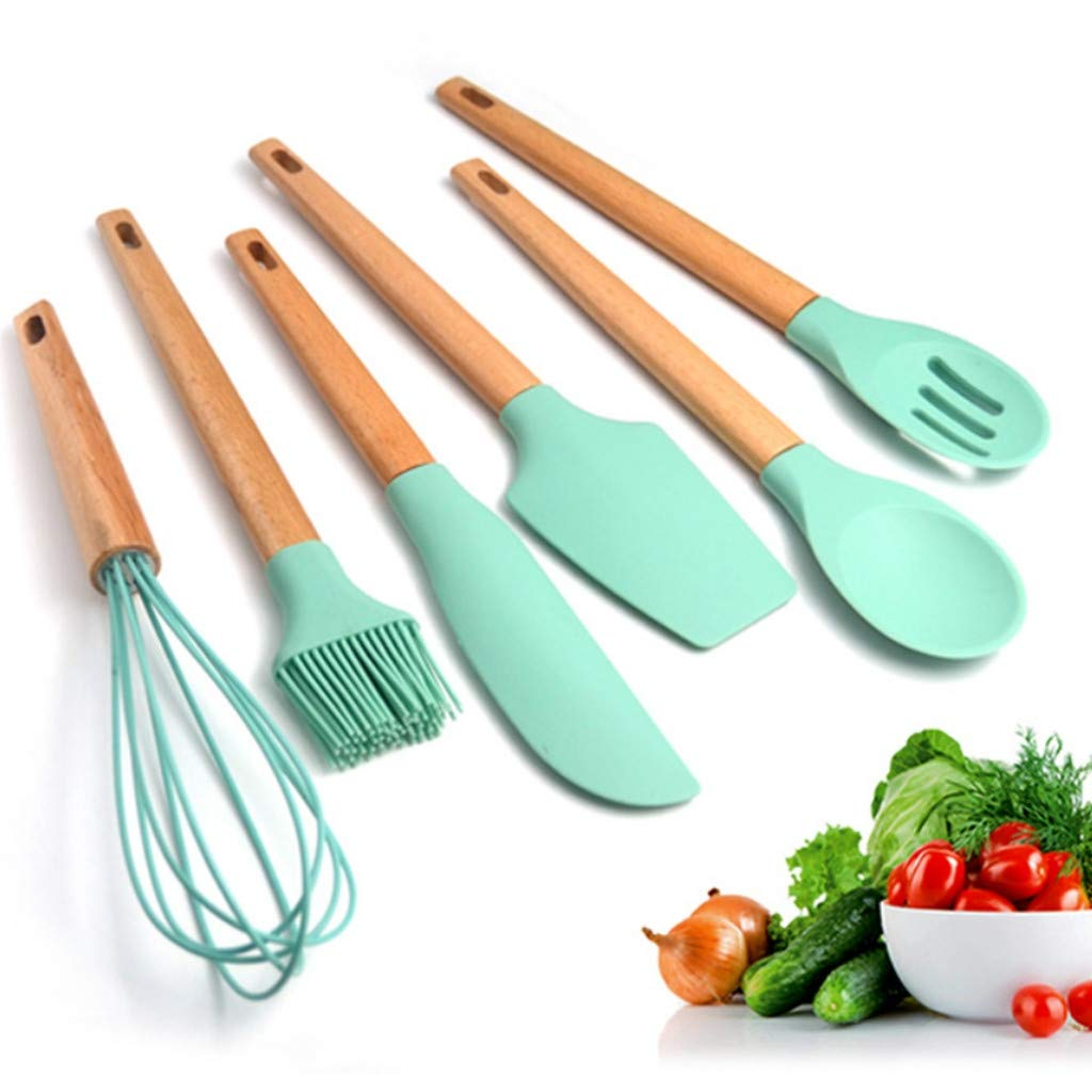 Hot.Newest.Releases | Silicone Cooking Utensils Set Kitchen Utensil Set Of 6Pcs Wooden Cookin by Frog Fun - Creative Home Kitchen Supplies