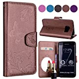 Samsung S6 Edge Case, Ailisi Luxury PU Leather Wallet Flip Case Butterfly Flower Design Magnetic Cover with Built-in Hidden Mirror, Stand Feature, Card Slots Holder for Samsung Galaxy S6 Edge-Brown