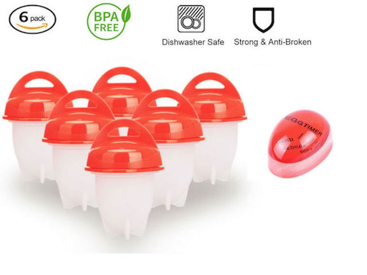 Egg Cooker- Hard Boiled Eggs Without The Shell & Soft Maker, BPA Free,Non Stick Silicone,Poacher,Steamer,Eggies AS SEEN ON TV (6PACK)+FREE Egg Timer (By TOP COOKERS). by Top Cookers