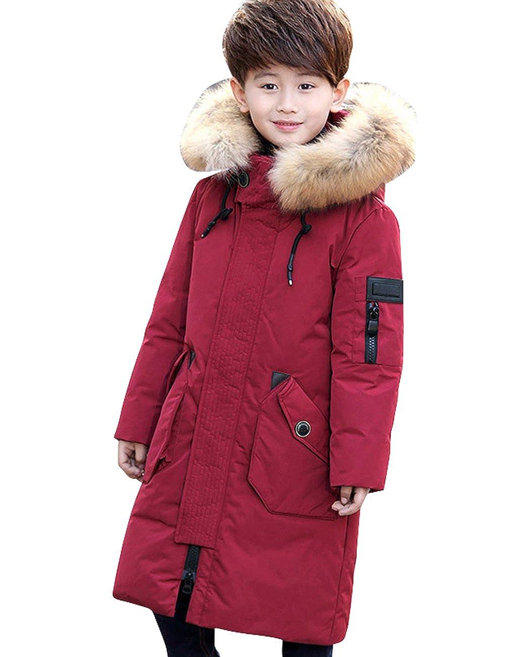 Menschwear Boy's Down Fur Hooded Jacket Winter Warm Outwear CN-YHQ-8828
