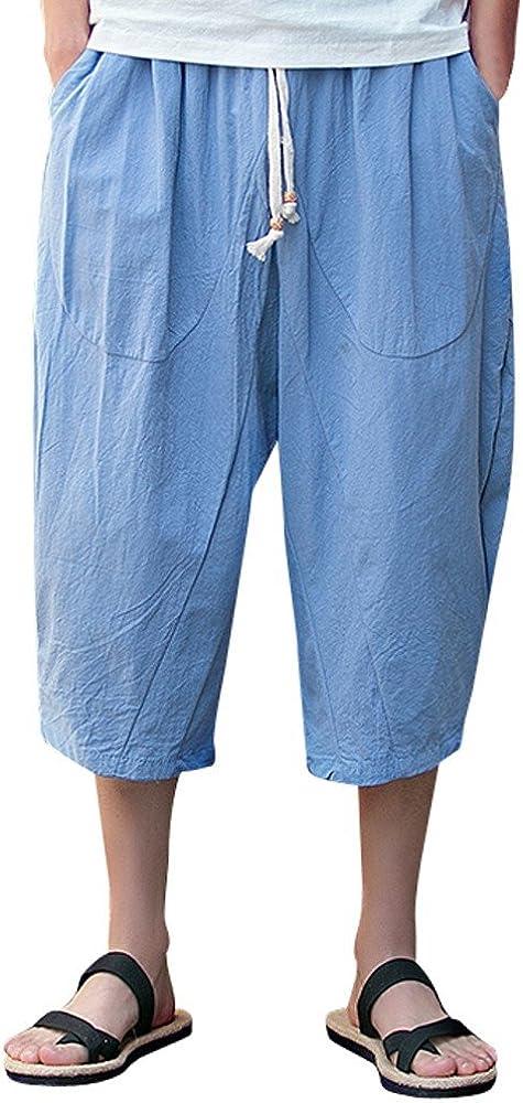 ITISME Pantaloni Uomo Pantaloni Harem da Uomo Cotton Linen Baggy Boho Estate Lungo Jogging Uomo Taglia Grossa Baggy 7 Pantaloni Harem Bermuda Casual Pantaloncini Estivi Pantaloni da Spiaggia