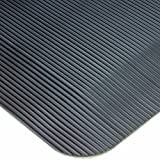 Wearwell PVC 433 ComfortPro Medium Duty Anti-Fatigue Beveled Mat, for Dry Areas, 2' Width x 3' Length x 1/2'' Thickness, Black