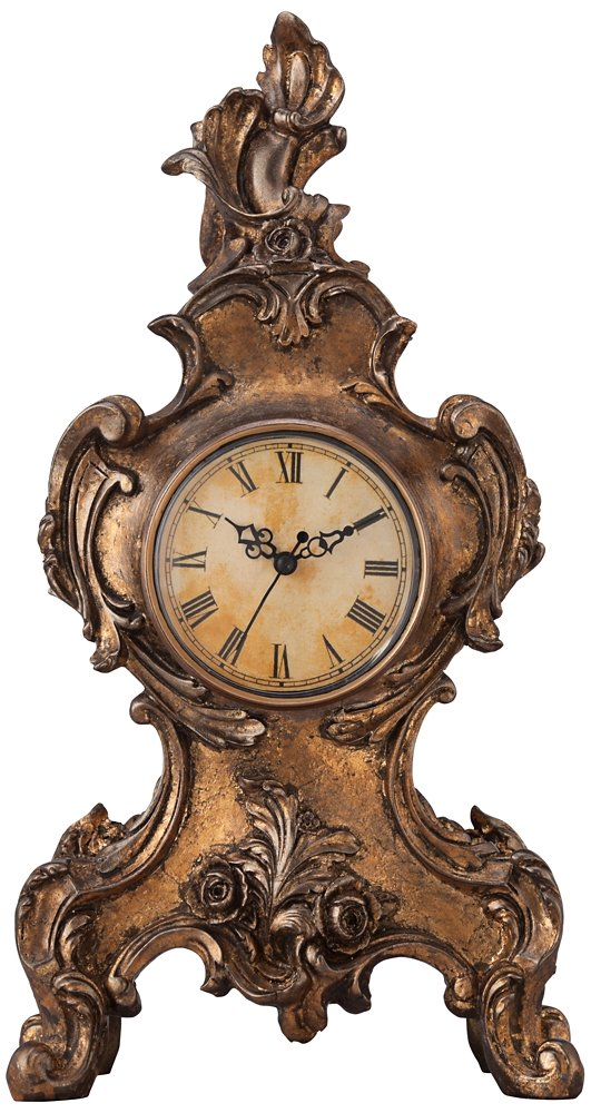 "Kensington Hill Taryn Vintage Style 16 1/4"" High Table Clock"
