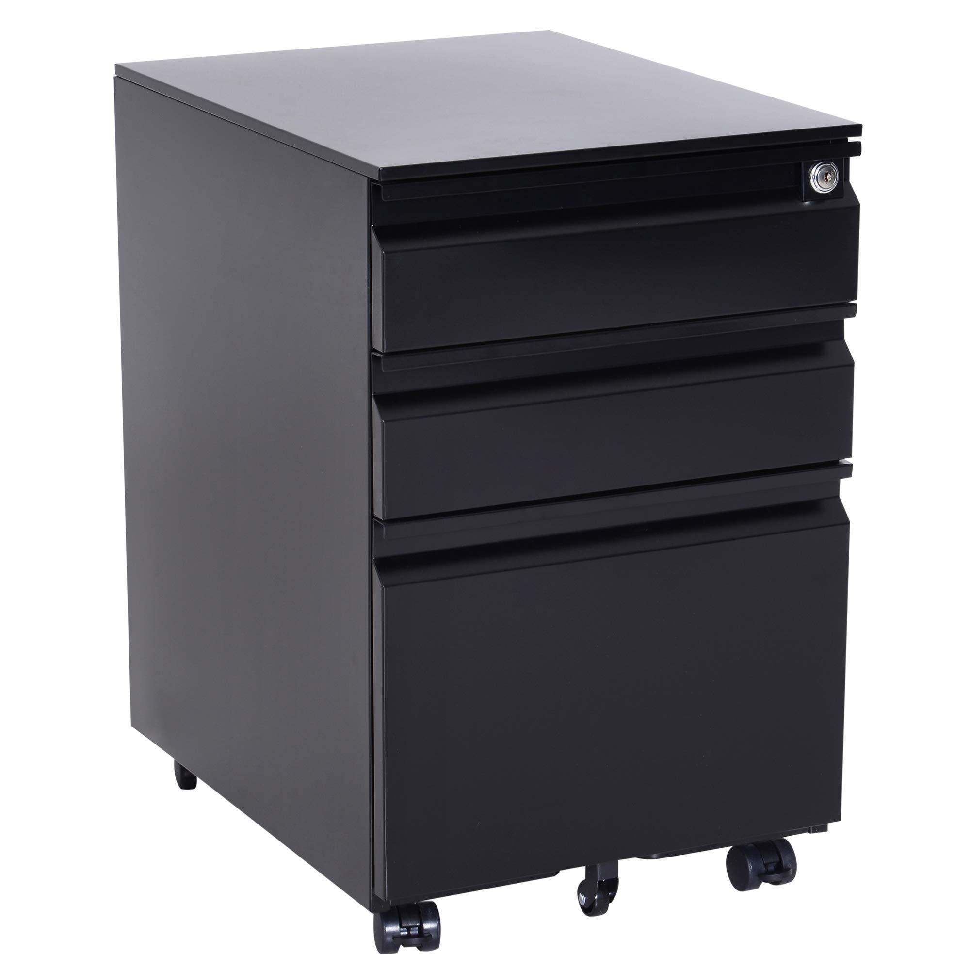 HOMCOM 24'' Steel 3 Drawer Locking File Cabinet on Wheels - Black by HOMCOM