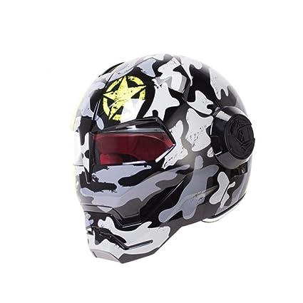JPFCAK Casco Personalizado para Motocicleta Predator Casco Portátil para Lente Harley Harley Casco Vintage,A