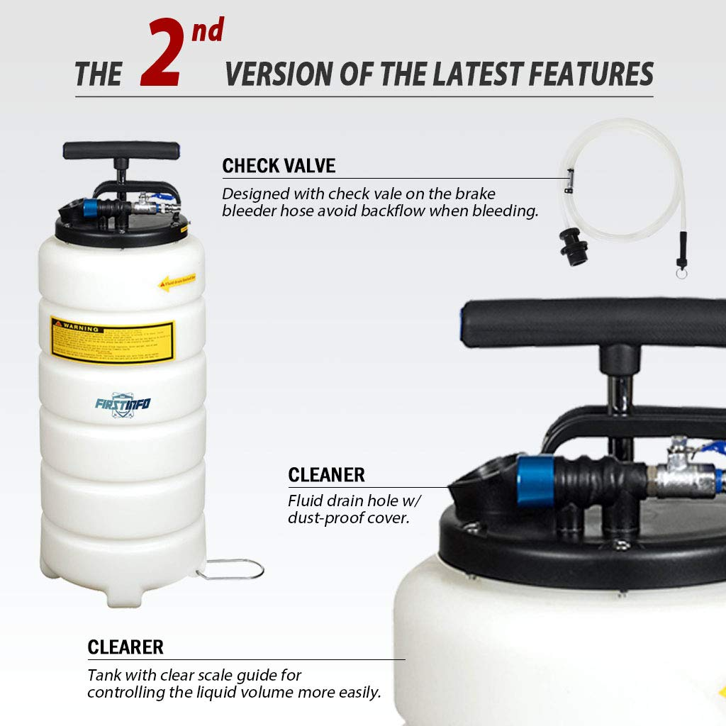 FIRSTINFO 15 Liter Pneumatic Manual Fluid Extractor/Vacuum Oil Pump with 4 pcs Hoses Include 6.6 ft Long Silicon Brake Fluid Hose with Check Valve by FIRSTINFO TOOLS FIT YOUR NEEDS (Image #2)