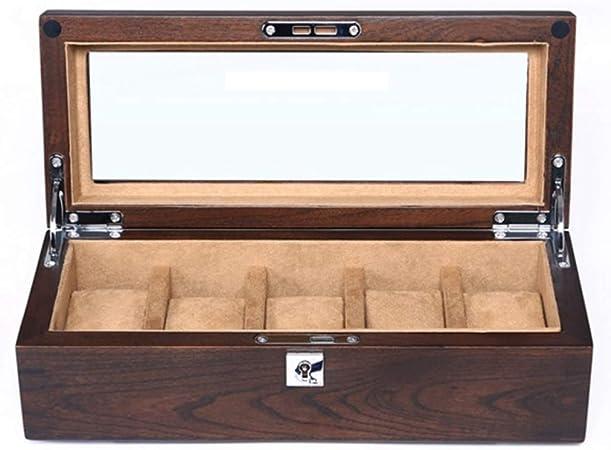 Caja expositora de almacenamiento con 5 ranuras para relojes, caja organizadora de relojes de madera, tapa de cristal, soporte de reloj, almohadas extraíbles, forro de terciopelo, cierre de metal: Amazon.es: Hogar
