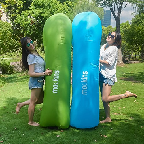 Mockins Inflatable Lounger Air Sofa Perfect for Beach Chair Camping Chairs or Portable Hammock and Includes Travel Bag Pouch and Pockets | Easy to Use Camping Accessories -Green Color