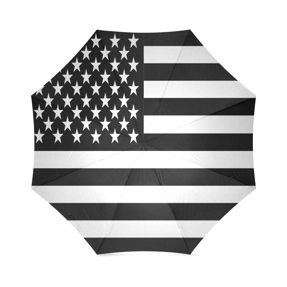 ブラックandホワイトAmerican Flagコンパクト折りたたみ式防雨防風旅行傘 B0794T4PGN