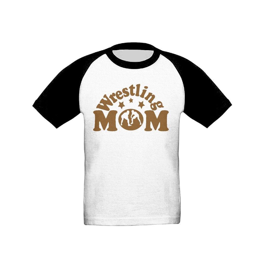 Oopp Jfhg Wrestling Mom 1 Raglan Short Sleeve Tee Girl Boy Childrens/Kids