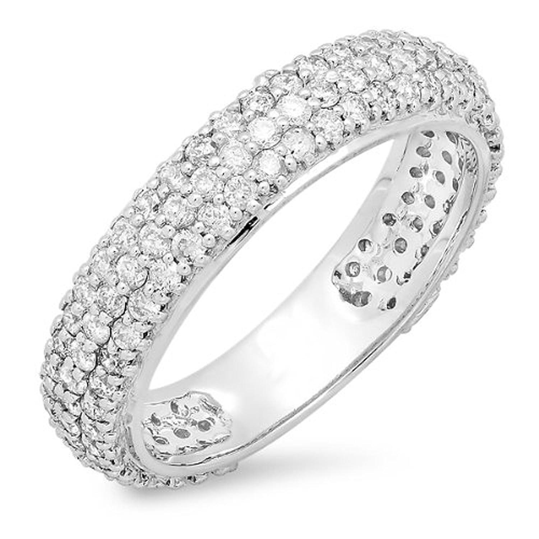 1.30 Carat (ctw) 14K White Gold Round White Diamond Pave Set Anniversary Wedding Eternity Ring Band