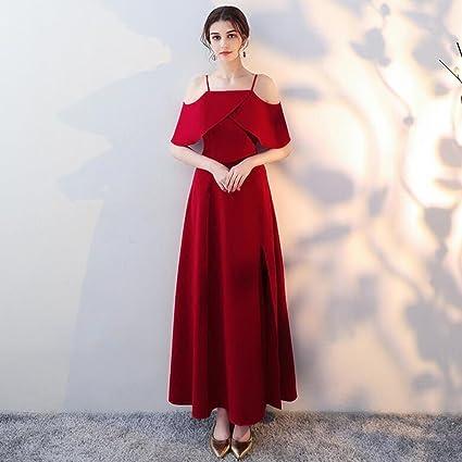Vestido de noche Novia Verano Vestido De Novia Mujer Larga Sección Tirantes Sexy Dobladillo De La