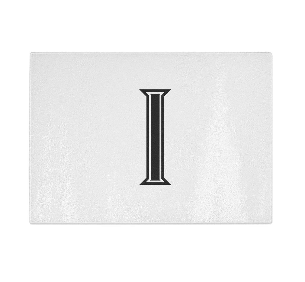 ''I '' College Font Initial Monogram Letter I Kitchen Bar Glass Cutting Board - 11 in x 16 in