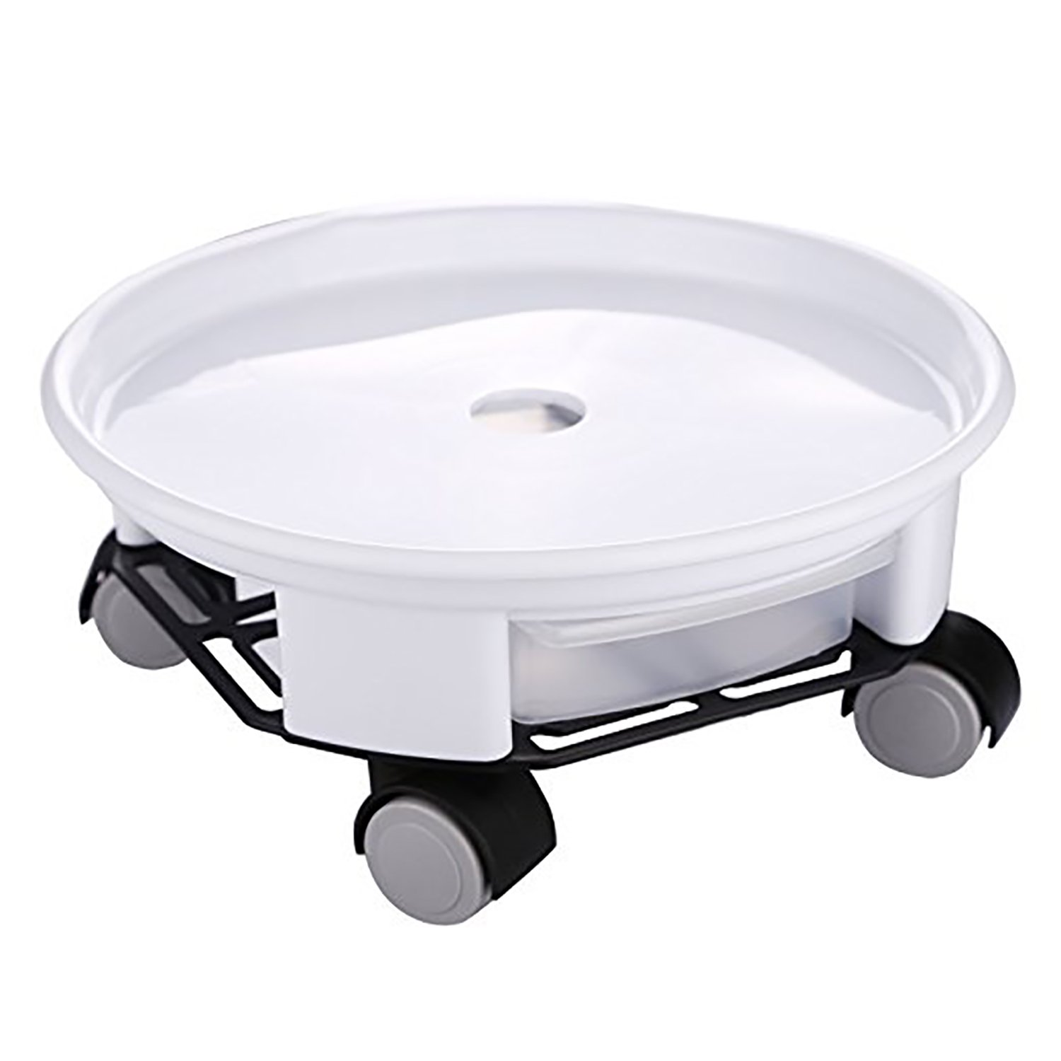rescozy 14'' Heavy Duty Round Plant Caddy with Wheels and Water Container, White