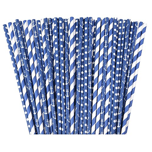 Navy Nautical Paper Straws - 75 pack of 100% Biodegradable Paper Straws for Baby or Bridal Showers Decor, Birthdays, Weddings, & Bachelorettes Parties - Summer Theme Backyard Party Decoration - Sydney Stores In