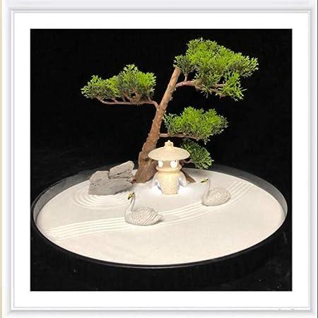 Hjyi Meditación Zen Garden,Jardin Zen Estilo Chino Mesa de Arena Seca de montaña Micro Paisaje Figura Zen Decoración Ceremonia del té Adornos de Yoga Xiangdao: Amazon.es: Hogar