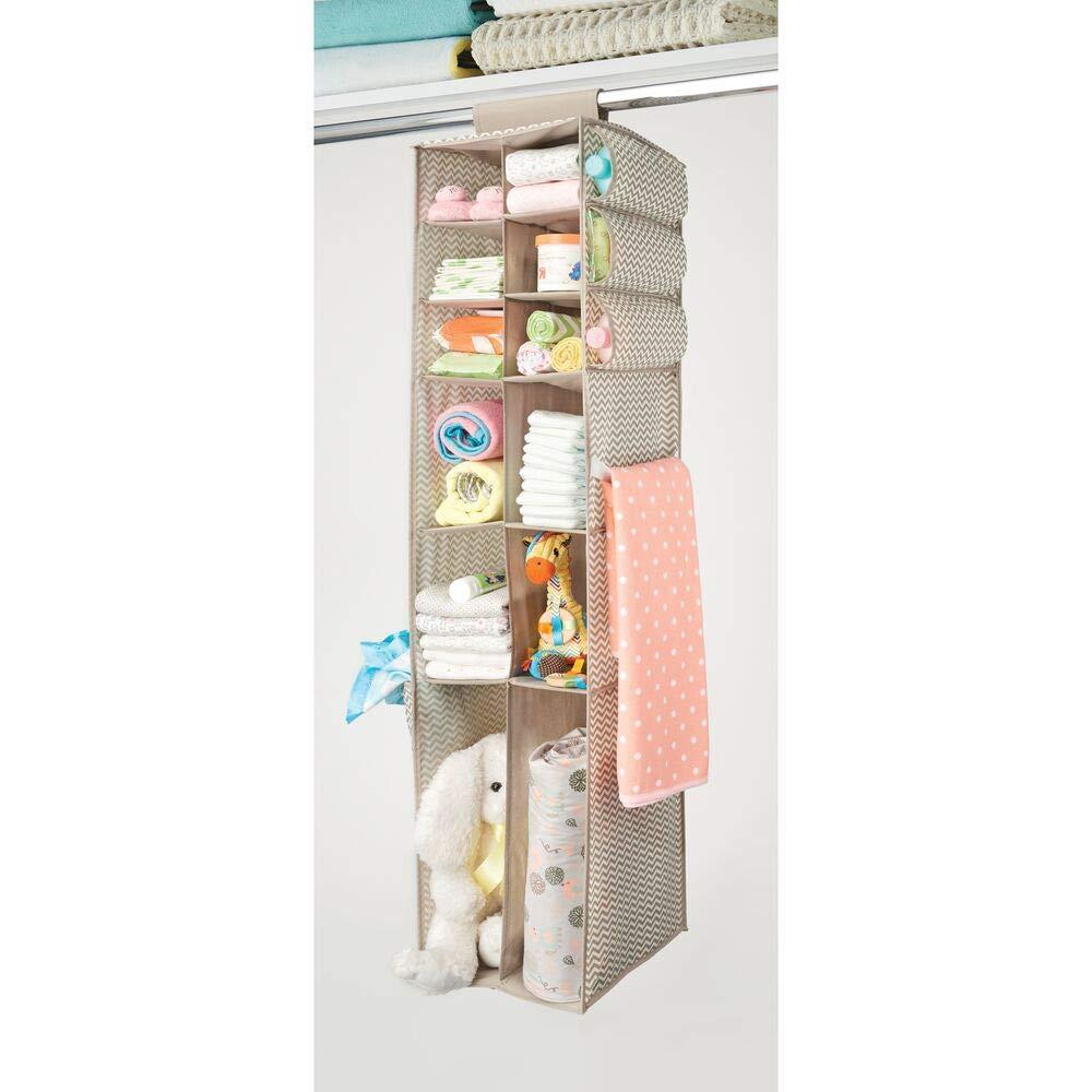 Aufbewahrungssystem mit 16 F/ächern f/ür Kleidung mDesign 2er-Set Stoff H/ängeaufbewahrung und Baby Kleiderschrank Organizer Decken und Spielzeug Taupe//Natur