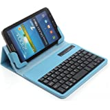 "TPCROMEER Universal 7-8 Inch Tablet Folding PU Leather Case with Detachable Bluetooth Keyboard for Samsung Galaxy Tab 2/3/4/A 7.0/8.0, Google Nexus 7.0, iPad Mini and Other 7""-8"" Android Tablets, Blue"