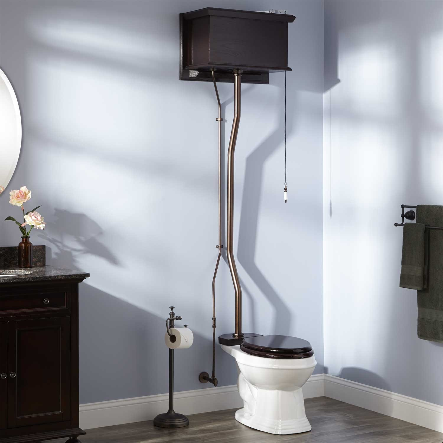 Naiture Mahogany High Tank Pull Chain Water Closet With Elongated bowl in Oil Rubbed Bronze/Trim Finish by SH