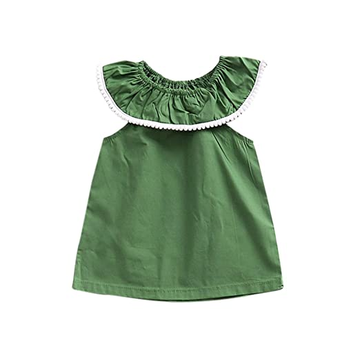 0f16cbce214 Toddler Baby Girls Ruffles Lace Collar Sleeveless Dress Summer Outfit  Sundress