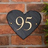Rustic Heart Shape House Number personalised with your number - Free postage in UK