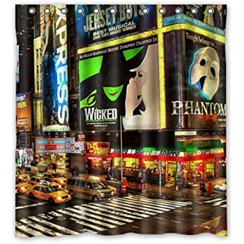 New York City Broadway Night Funny Art Decor Shower Curtain 60X72 Inch