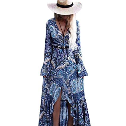 Likeitwell - Vestido de Playa con Falda Larga, Azul: Amazon.es ...