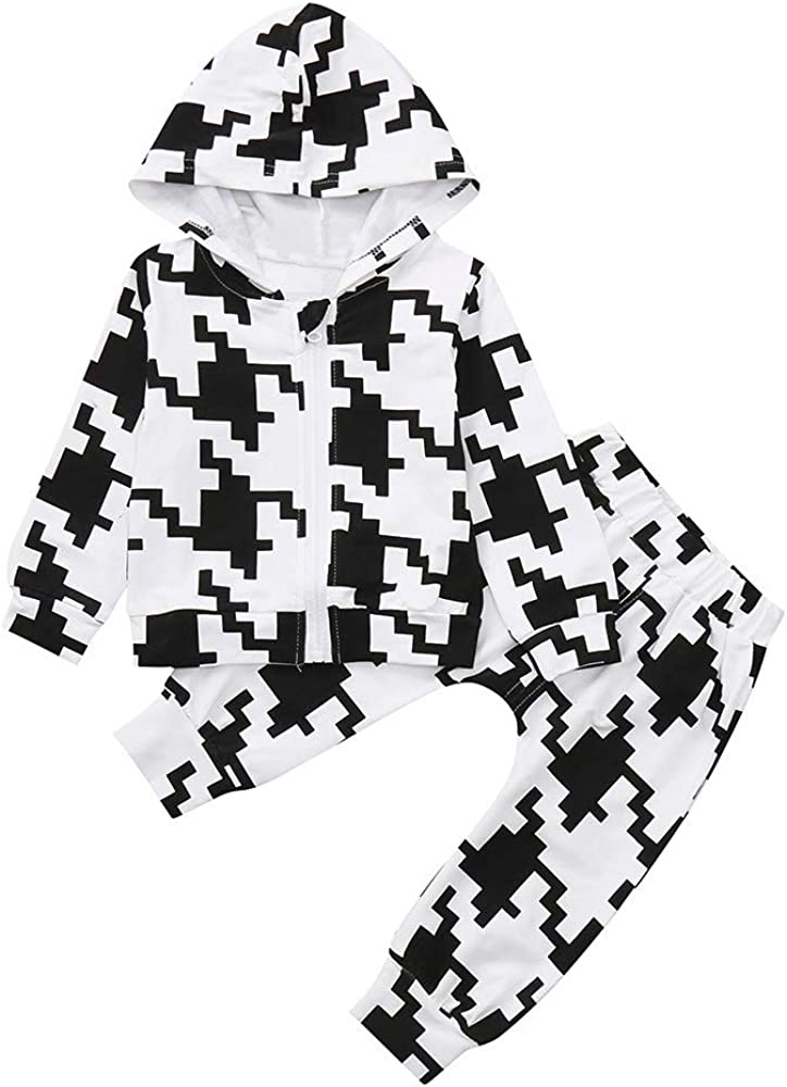 Jchen Baby Kids Little Girls Boys Mosaic Print Hoodie Zipper Long Sleeve Coat+Long Pants Sport Casual Sets for 0-4 Y TM