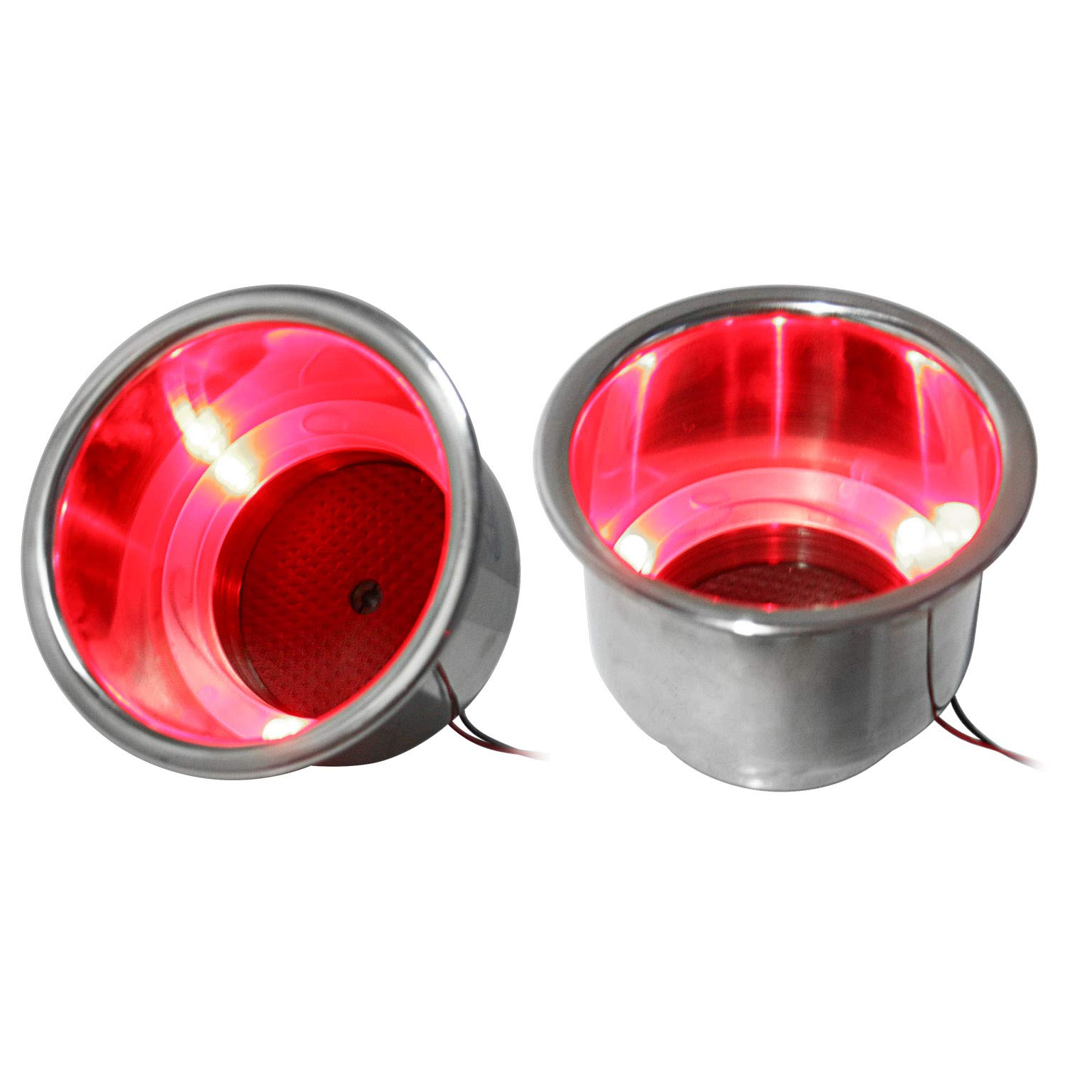 shanghai Ltd Amarine-made 2 Pieces of 3 Red LED Stainless Steel Cup Drink Holder with Drain Marine Boat Rv Camper Alfa Marine Co