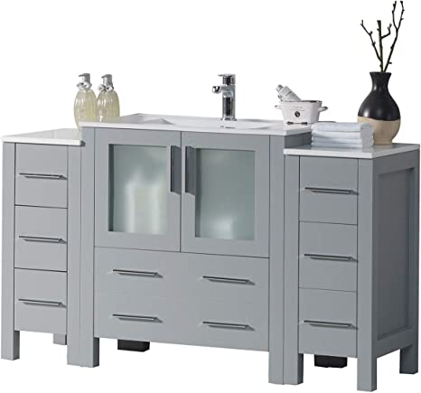 Amazon Com 54 Inches All Wood Single Ceramic Sink Bathroom Vanity With Double Side Cabinet 001 54 15 C 54 Inch Metal Grey Kitchen Dining
