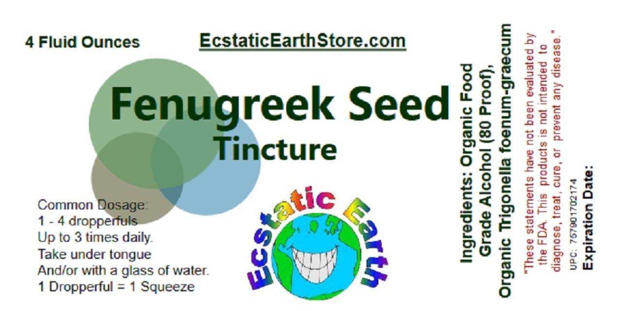 Fenugreek Extract Tincture ~ 4 Ounce Bottle ~ 100% Organic Fenugreek Seed