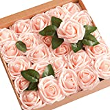 (US) ling's moment Artificial Flowers Blush Roses 25pcs Real Looking Fake Roses w/Stem for DIY Wedding Bouquets Centerpieces Party Baby Shower Home Décor