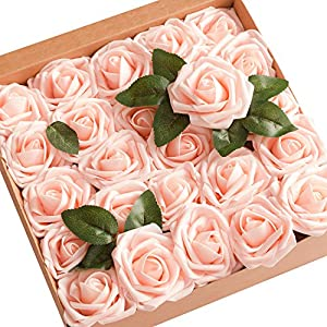 Ling's moment Artificial Flowers Blush Roses 25pcs Real Looking Fake Roses w/Stem for DIY Wedding Bouquets Centerpieces Bridal Shower Party Home Decorations 6
