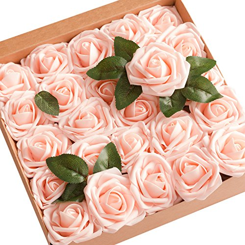 Ling's moment Artificial Flowers 50pcs Real Looking Blush Fake Roses w/Stem for DIY Wedding Bouquets Centerpieces Bridal Shower Party Home Decorations ()